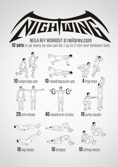 Instructions: Repeat each move one after the other with no rest in between until the set is done, rest up to 2 minutes and repeat the whole set again as many times as you can depending on your fitness level – maximum of 10 sets. Download High...