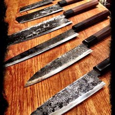 Takeda - the coolest custom knives ever! Cool Knives, Knives And Swords, Japanese Kitchen Knives, Japanese Chef, Chef's Choice, Fancy Kitchens, Best Pocket Knife, Knife Sharpening, Chef Knife