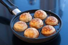 Nordic Food & Living Original Recipe For Danish Aebleskiver (Pancake Balls) | http://nordicfoodliving.com/original-recipe-danish-aebleskiver-pancake-balls/ | 250 g (9 oz) all-purpose flour, 1/4 tsp salt, 1/2 tsp Natron (baking soda), 1 tbsp vanilla sugar, 4 dl (1.75 cups) buttermilk, 100 g (3.5 oz) butter melted, 3 eggs, 1 tbsp sugar