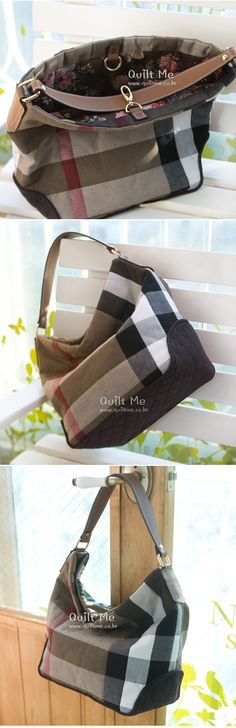 [*BB체크&다크브라운 숄더백*] Clutch Bag, Tote Bag, Japanese Bag, Ace And Jig, Quilted Bag, Casual Bags, Sewing Crafts, Gym Bag, Burberry