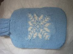 Hot water bottle cover Pale blue handmade knitted by CandyKnit, $13.00