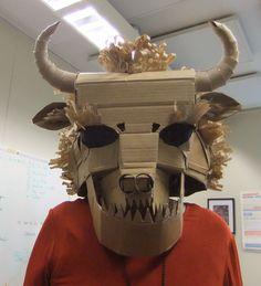 Cardboard bull mask--OOAK