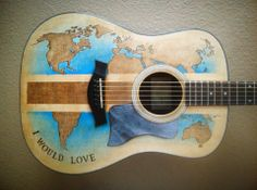 """""""I Would Love"""" guitar. The newly improved Taylor acoustic! Lee Coulter design. Glad this didn't make it to the """"Nailed It!"""" section of Pinterest."""