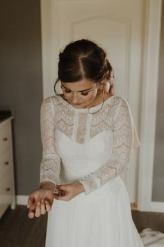 Minimalist Simple Natural Bride Dress Maggie Sottero Long Sleeved Lace Morning   Intimate Adventurous Emotional Iceland Wedding http://www.thecurries.co/