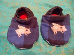 Baby Booties 12 to 18 months Wide Foot Fit Blue Buffalo Plaid with Flying Pig Light Weight Fabric by BettieJune on Etsy