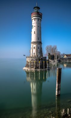 Lighthouse, Lindau, Germany - One of the most scenic and photographed… Lighthouse Pictures, Beacon Of Light, Water Tower, Belle Photo, Beautiful Places, Scenery, Castle, Around The Worlds, Ocean