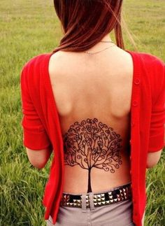 A cute back tattoo. #InkedMagazine #tree #tattoo #tattoos #Inked #back
