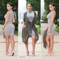 Nastygal Grey Ruched Bodycon