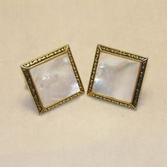 VIntage Cuff Links Mother of Pearl Gold Tone Metal by SwaggerMan, $18.00