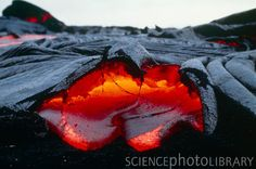 Pahoehoe lava. View of the front of a molten pahoehoe lava flow