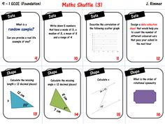 GCSE Maths Revision Foundation 9-1 SHUFFLE CARDS 3 (card sort)