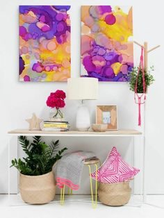 Violets/Sunflowers & Bananaberry - Canvas Set - Urban Road Pty Ltd Wall Art Decor, Wall Art Prints, Canvas Prints, Urban Road, Sunflower Art, Affordable Art, Canvas Artwork, Wall Design, Table Decorations