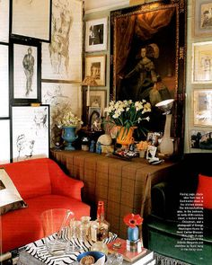 Miles Redd, bar styling, gallery wall, eclectic style, chic room