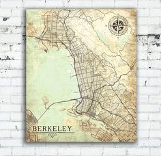 BERKELEY CA Canvas Print California Ca Vintage map Berkeley Ca Town Plan City Vintage Wall Art map poster retro antique old large poster map