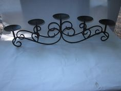 Wrought Iron Candelabra, holds 5 Pillar Candles by antiquesplusmore on Etsy