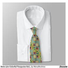 #Retro 50s Colorful Turquoise Gold #Geometric Print Tie Tie #Fashion #Ties #Necktie #Tie #TieOneOn #LeeHillerDesigns #Gift #Anniversary #Fathersday #Birthday