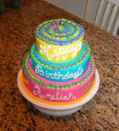 Easy Tie Dye Cake | tie dye a tie dye birthday made with all butter cream