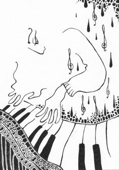 Siret Roots (©2014 artmajeur.com/siret) Framed black and white ink drawing of a piano player.  Size with frame ca 28 x 22 cm.