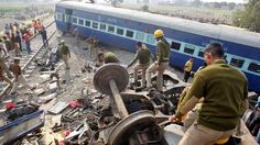 At least 115 people die and 150 are hurt after an express train derails near Kanpur in north India.