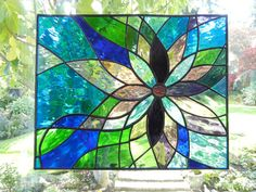 Stained Glass Panel Flower Bright and by ShatteredbyLight on Etsy,