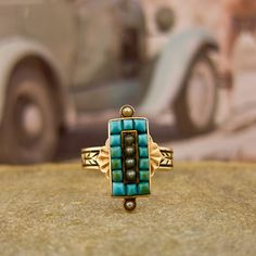 i love turquoise with gold. the way it should be. from erstwhile jewelry.
