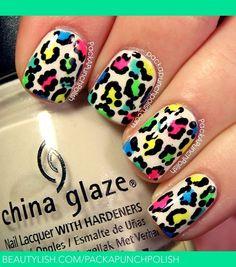 Neon leopard nails