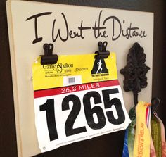 Running Medal holder and Running Race bib Holder - I Went the Distance on Etsy, $34.99