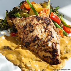 pescado del dia | mahi mahi, broccoli, haricot vert, yukon gold potatoes, mushroom cream sauce