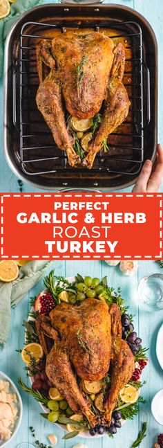 This Garlic and Herb Roast Turkey recipe is engineered for perfection. Three simple tricks guarantee juicy meat, tons of flavor, and ridiculously crispy skin. Gravy Packet, Herb Roasted Turkey, Roast Turkey Recipes, Baked Chicken Wings, Herb Butter, Fall Recipes, A Food, Food Processor Recipes, Garlic