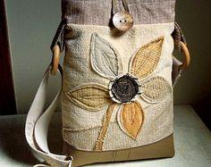 OOAK CROSSBODY HOBO Bag-Tablet Bag-Notebook Bag-Small Laptop Bag-Upcycled-Repurposed-Appliqued-Eco Friendly
