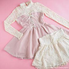LIZ LISA Matching Bundle Tunic dress & Skirt shorts Lace Bowknot lolita…
