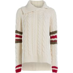 Preen by Thornton Bregazzi Wool Pullover ($845) ❤ liked on Polyvore featuring tops, sweaters, white, wool sweater, turtleneck sweater, white jumper, striped turtleneck sweater and chunky oversized sweater