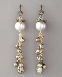 Y0WRZ Wendy Brigode Diamond & Pearl Drop Earrings