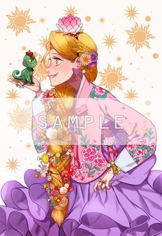 """Disney and Dreamworks Characters in Korean Hanbok - Rapunzel from """"Tangled"""" - Art by Byajae"""