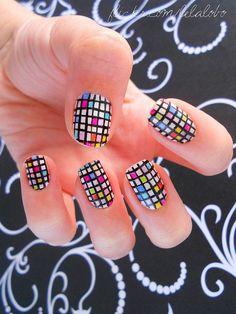 make-up, nails, nail polish, patterns, checkered, rainbow, grids
