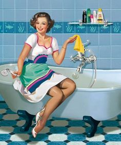 Vintage Housewife, Tatyana Doronina, Tatiana Doronina, Vintage Pin, Vintage Sewing, Bathroom Cleaning, Pinup, Cleaning Tips, Pin Up Girls