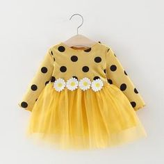 Baby / Toddler Girl Sweet Polka Dots Sunflower Splice Tulle Long-sleeve Dress Description * Soft and comfy * Sunflower decor * Material: Cotton, PVC * Machine wash, tumble dry * Imported Dot Dress, Baby Dress, Toddler Girl Dresses, Girls Dresses, Long Sleeve Mesh Dress, Sleeve Dresses, Dress Long, Birthday Girl Dress, Baby Girl Fashion
