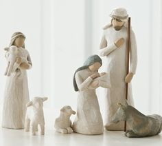 Create your own nativity scene with these Willow Tree nativity figures. Simple and classic, this set will become the centerpiece of your holiday decorations.