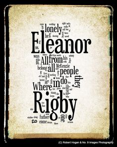 Eleanor Rigby Lyrics  The Beatles Word Art  Word by no9images, $15.00