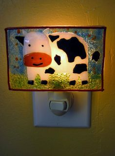 Black And White Cow Night Light - Delphi Stained Glass Artist Gallery