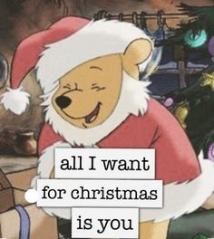 All I want for Christmas is you.  Winnie the Pooh Santa.