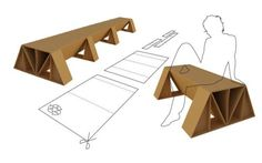 Kardboard bench system design for Karton-Art Design Tamas Bozsik Cardboard Chair, Diy Cardboard Furniture, Cardboard Recycling, Cardboard Design, Paper Furniture, Green Furniture, Cardboard Paper, Diy Pallet Furniture, Cardboard Crafts