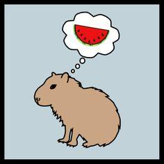 watermelon lovin\' capybara on sale www.etsy.com/...