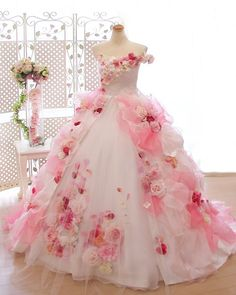New wedding dresses pink tulle beautiful Ideas Pink Wedding Dresses, Flower Dresses, Ball Dresses, Pretty Dresses, Wedding Gowns, Ball Gowns, Girls Dresses, Prom Dresses, Barbie Wedding