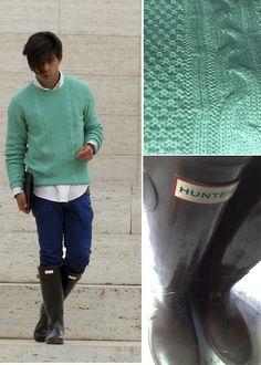 Pull & Bear Pull Over, Zara Jeans, Hunter Boots