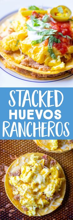 These Stacked Huevos Rancheros are easy to make and perfect for a healthy and filling breakfast! They're vegetarian and gluten free. They're made with simple pantry items for a homey and delicious Mexican inspired breakfast! #breakfast #huevosrancheros #healthybreakfast #eggbreakfast
