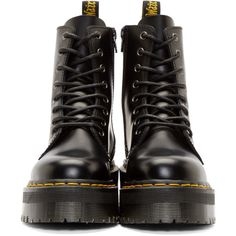 Dr. Martens Black Platform 8-Eye Jadon Boots ($160) ❤ liked on Polyvore featuring shoes, boots, ankle booties, platform booties, black booties, leather boots, leather lace up boots and leather booties