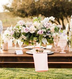 From the blush and lilac palette to the long, banquet-style dinner tables, everything about this romantic vinery wedding in San Diego, California is perfection! Vineyard Wedding, Dinner Table, Banquet, Lilac, Wedding Inspiration, Romantic, Table Decorations, Floral, Weddings