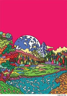 Yong Oh Kim Turns Street Fashions, Travel Landscapes and the Apocalypse into Psychedelic Cartoons [Art] Collage Poster, Photo Wall Collage, Picture Wall, Collage Art, Hippie Painting, Trippy Painting, City Painting, Arte Indie, Indie Art