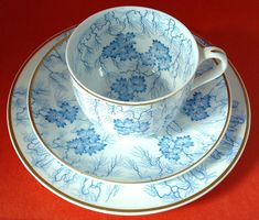Teacup Trio Teal Transferware Cup Saucer Plate England Blue And White Grainger 1880s #AntiqueStaffordshire #VictorianTeacups #AntiqueTeacups #AntiquesAndTeacups #VicotianTeacupsTrios #GotVintage